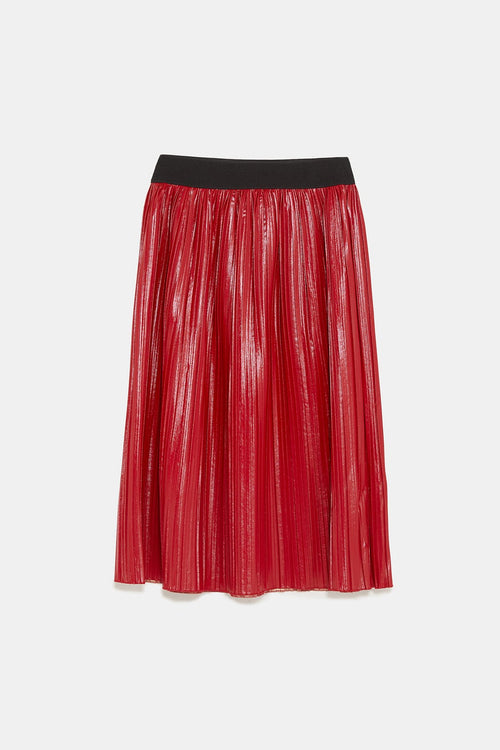 Dipped Waxed Faux Leather Pleated Skirt | Sale