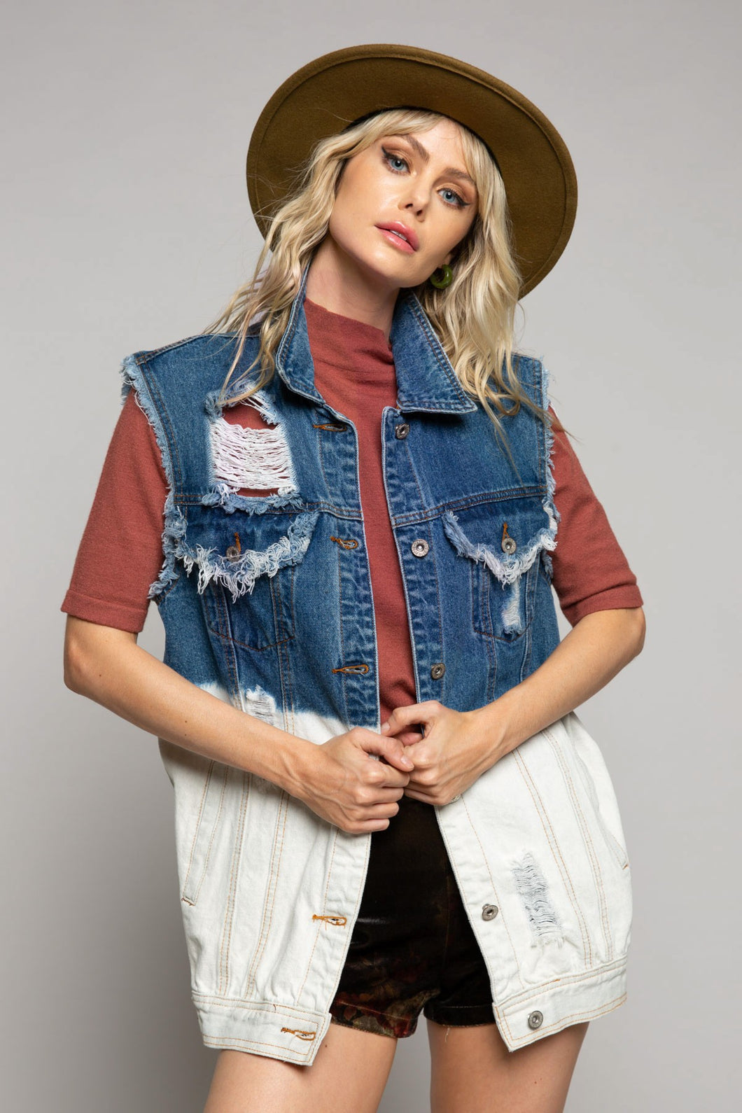 Two Tone Denim Jacket - Outerwear