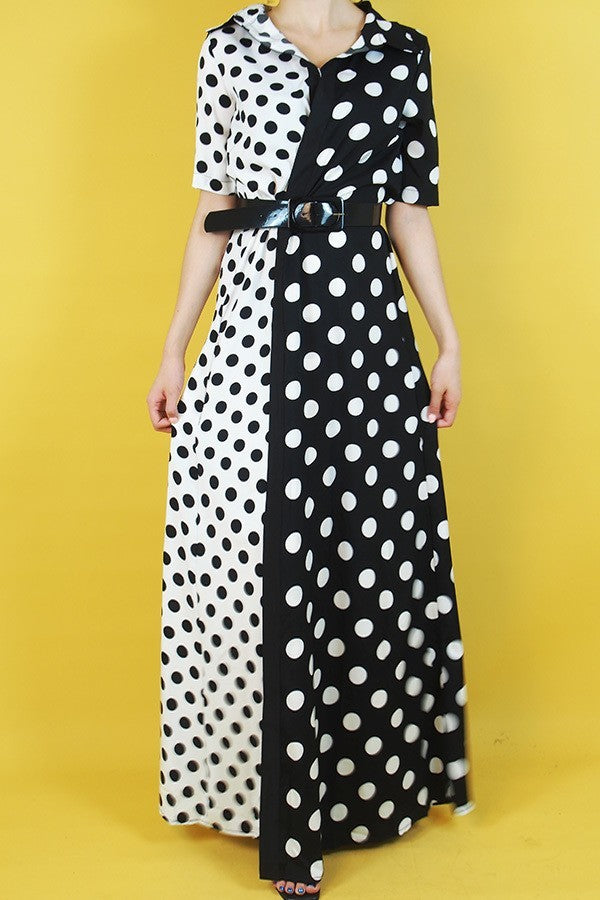 Half & Half Polka Dot Maxi Dress