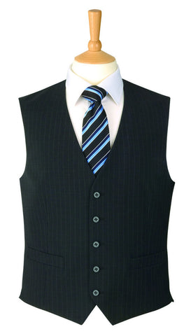 Men's Waistcoat - Mix & Match Travel Suit, Charcoal Pinstripe
