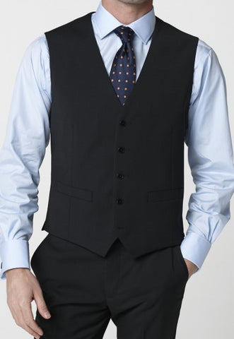 Men's Waistcoat-  Mix & Match Travel Suit, Black