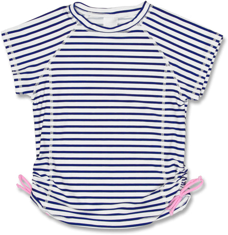 Girls Short Sleeve UV Shirt, Blue Stripe - UPF 50+
