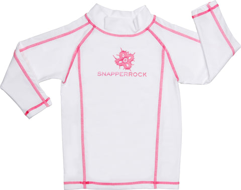Girls Rashguard, White/Pink Stitch - UPF 50+ Sun Protection