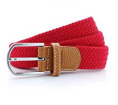Woven Stretch Belt, Red