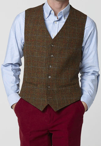 Men's Harris Tweed Waistcoat, Tailored Fit