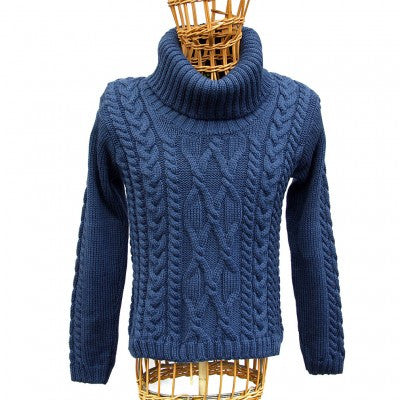 100% Merino Aran Cowl Neck Sweater, Blue