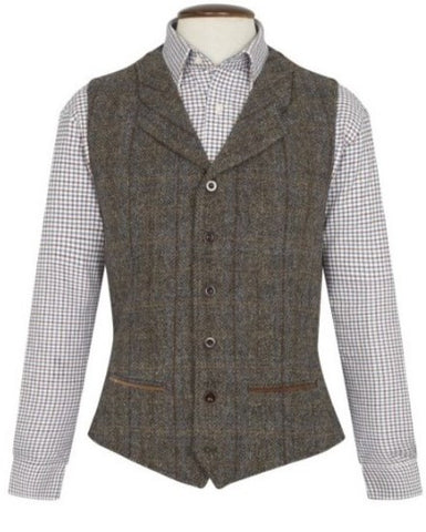 Harris Tweed Waistcoat with Collar