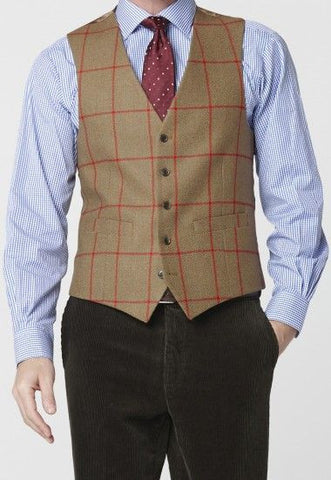 Men's Tweed Waistcoat, Gold/ Red Check
