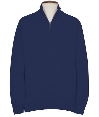 100% Cashmere Zip Neck Sweater, Blue
