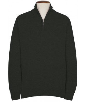100% Cashmere Zip Neck Sweater, Grey