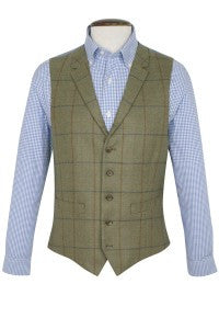 Contemporary Check Wool Waistcoat, Olive