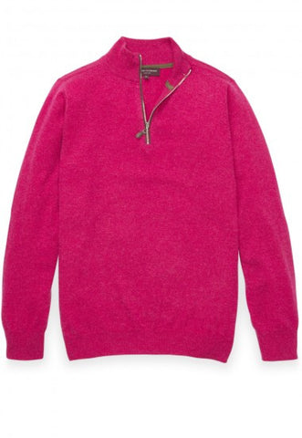 100% Cashmere Zip Neck Sweater, Pink