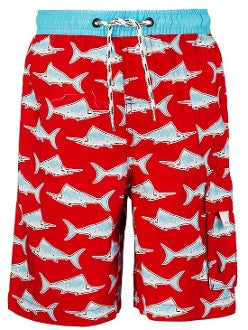 Kid's UV Board/ Swim Shorts, Red Swordfish - UPF 50+