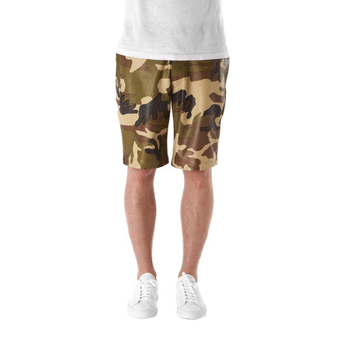 Camo Leather Shorts