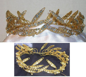 Regal Men's Full Wreath Laurel The Coliseum Rhinestone Gold Full Crown - CrownDesigners