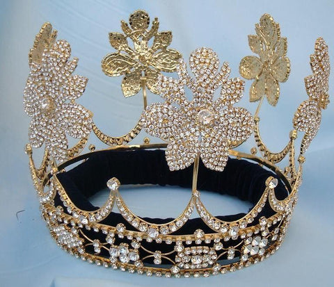 Beauty Pageant Gold  Queen Princess Bridal rhinestone crown tiara The Lily Orleans, CrownDesigners