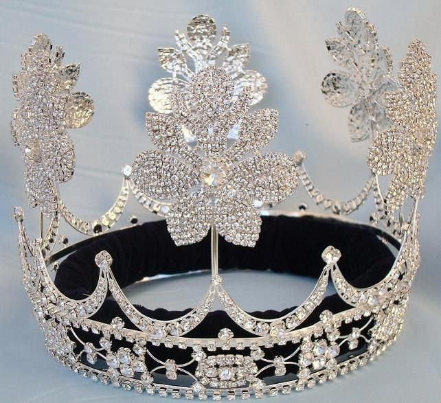 Beauty Pageant Silver Queen Princess Bridal rhinestone crown tiara The Lily Orleans - CrownDesigners
