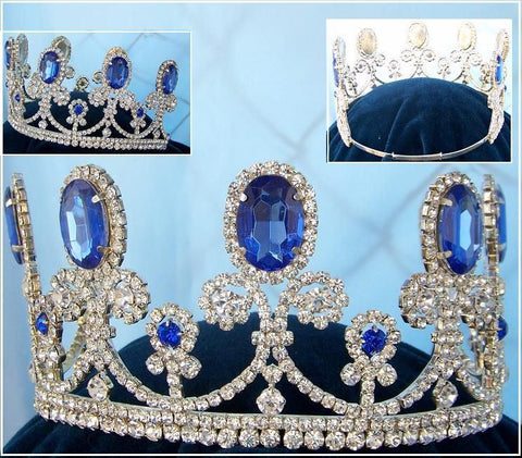 Beauty Pageant Queen Princess Bridal rhinestone crown tiara The Clarisse - CrownDesigners