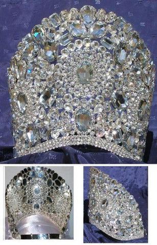 Beauty Pageant Queen Princess Bridal Rhinestone Crown Tiara The Planetary - CrownDesigners