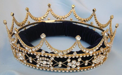 Queen king unisex rhinestone Gold full Tudor Royal Crown, CrownDesigners
