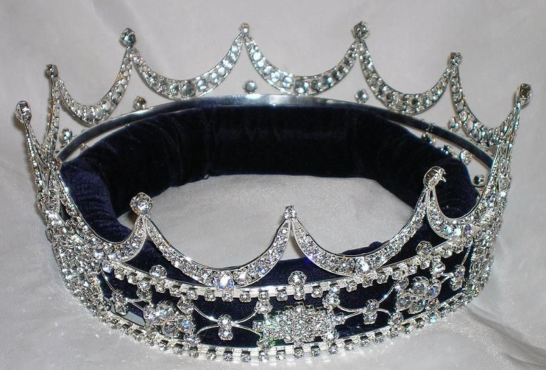 Queen, King Unisex Rhinestone Silver Full Tudor Royal Crown - CrownDesigners