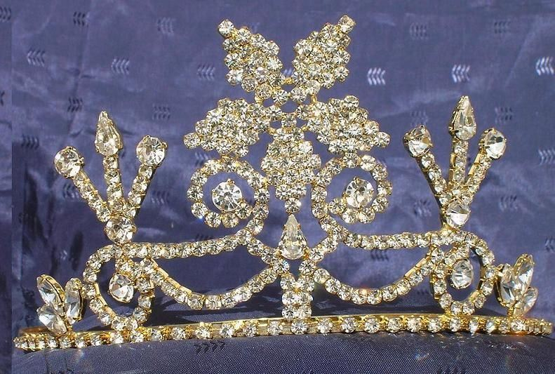 Beauty Pageant Enchantment Rhinestone Queen, Princess, Bridal Gold Crown Tiara - CrownDesigners