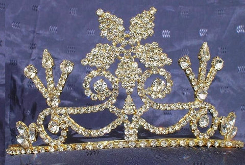 Beauty Pageant Enchantment Rhinestone Queen, Princess, Bridal Gold Crown Tiara, CrownDesigners