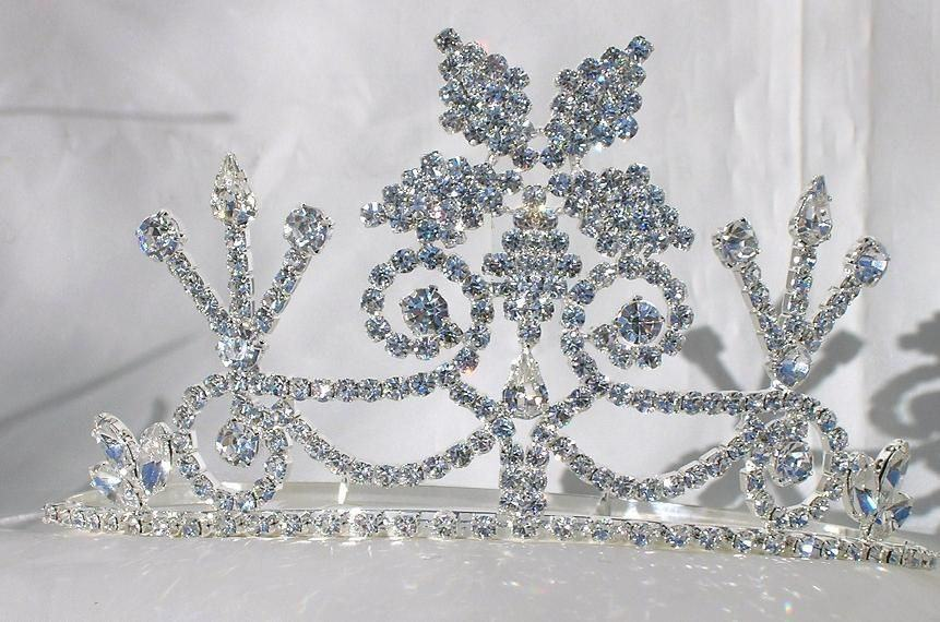 Beauty Pageant Enchantment Rhinestone Queen, Princess, Bridal Silver Crown Tiara - CrownDesigners