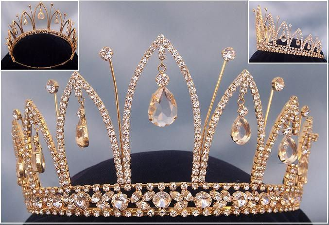 Royal gold rhinestone crown tiara, CrownDesigners