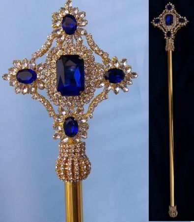 Imperial Rhinestone Gold Blue Sapphire Scepter, CrownDesigners