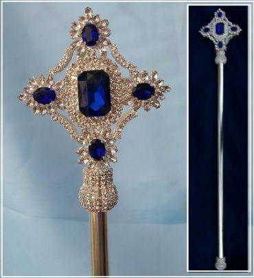 Imperial Rhinestone Silver Blue Sapphire Scepter - CrownDesigners