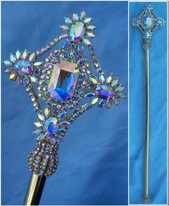 Aurora Borealis Gold Rhinestone Exalted Imperial  Beauty Pageant Scepter - CrownDesigners