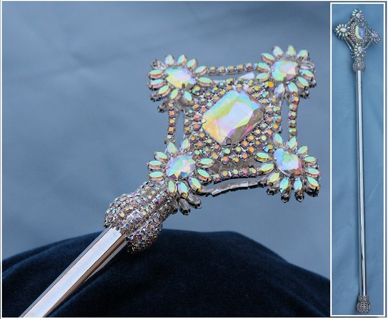 Aurora Borealis Silver  Rhinestone Exalted Imperial  Beauty Pageant Scepter - CrownDesigners