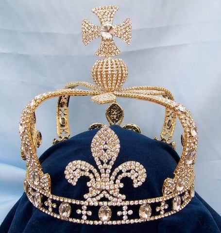 Imperial Rhinestone Men's King State Gold Crown - CrownDesigners