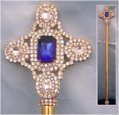 Royal Blue Gold Rhinestone Scepter, CrownDesigners