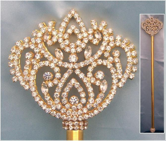 Georgina Gold Rhinestone Royal Scepter - CrownDesigners