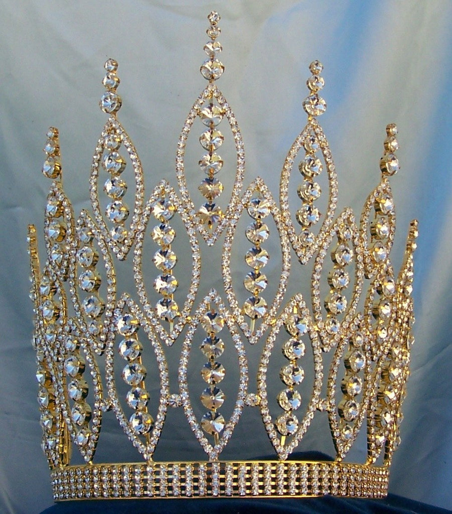 Queen of The Seven Seas Large Adjustable Gold Crown Tiara, CrownDesigners