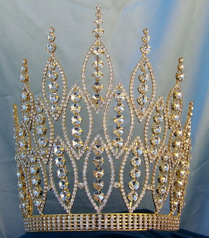 Queen of The Seven Seas Large Adjustable Gold Crown Tiara - CrownDesigners