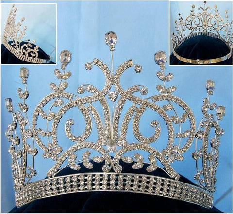 Large Silver Leaey-Spray 1905 English Rhinestone Pageant Crown Tiara - CrownDesigners