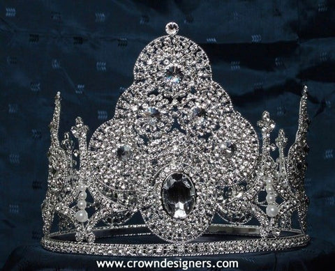 Beauty Pageant Rhinestone Imperial STar Diamond Silver Full Crown, CrownDesigners