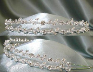 Two Rows Clear Rhinestone Bridal Tiara Veil Gown - CrownDesigners