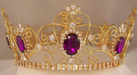 Rhinestone Imperial Celtic Jewelled Mens gold Amethyst Crown - CrownDesigners