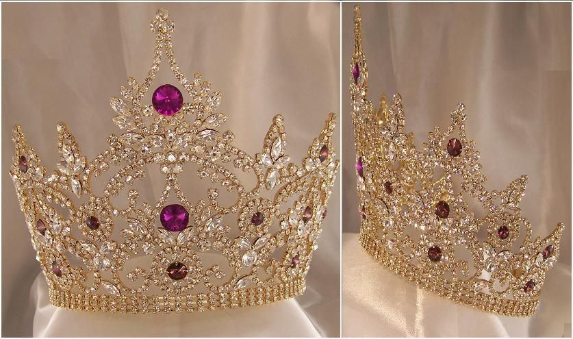 Large Adjustable Amethyst Gold Crown - CrownDesigners