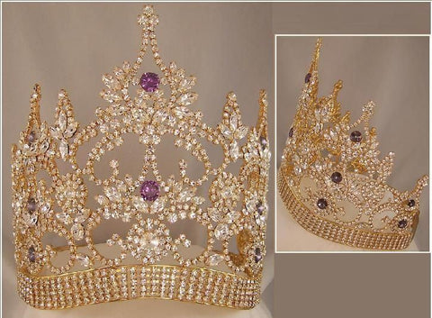 Continental Adjustable Contoured Gold Amethyst Crown Tiara - CrownDesigners