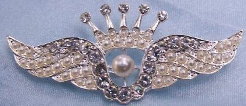 Victorian Angel Rhinestone Crown Pin