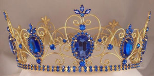 Rhinestone Imperial Celtic Jewelled Mens Gold Blue Crown - CrownDesigners