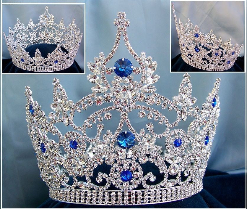 Continental Blue Sapphire Rhinestone Silver Full Crown, CrownDesigners
