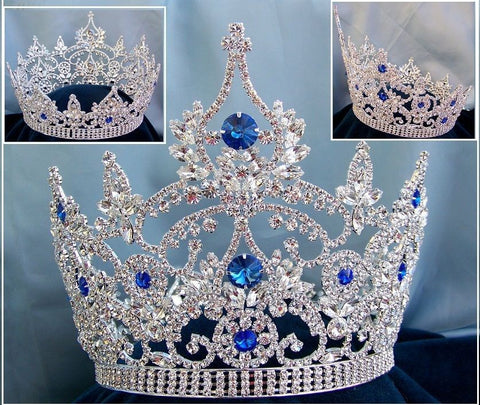 Continental Blue Sapphire Rhinestone Silver Full Crown - CrownDesigners