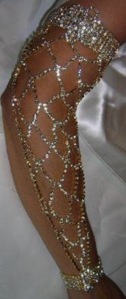 QUEEN OF THE NILE Rhinestone Gold arm bracelet - CrownDesigners