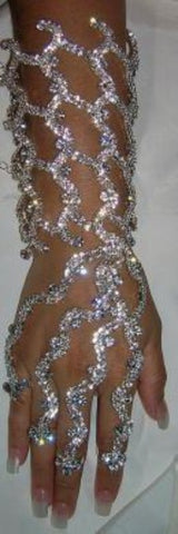 Rhinestone SILVER CLEOPATRA style arm bracelet with rings - CrownDesigners